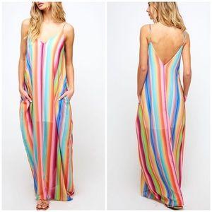 New Multicolored Boho Chic Maxi Dress